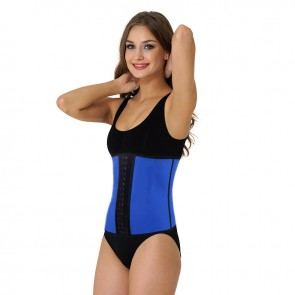 Ultimate Sports Latex Waist Shaper met stalen baleinen - blauw