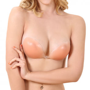Silicone Adhesive Bra with front closure - Black